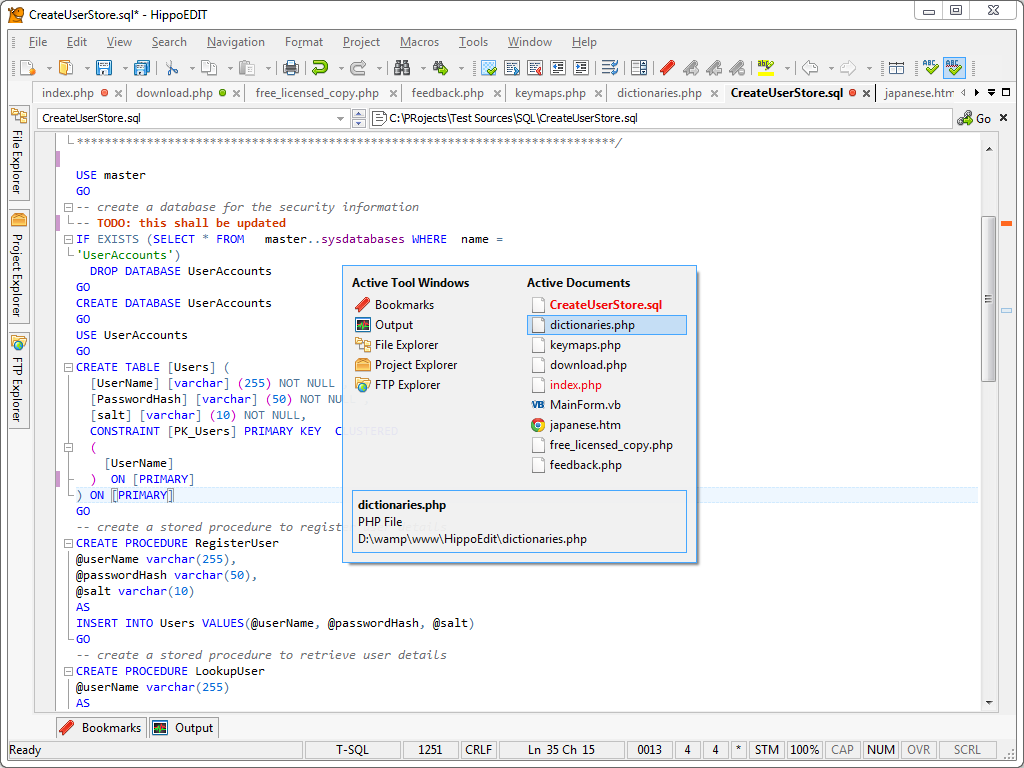Development Software, HippoEDIT Screenshot