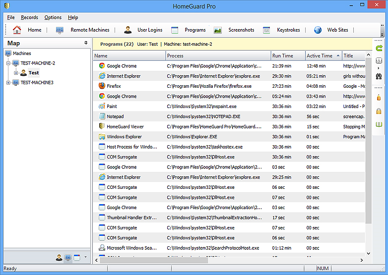 HomeGuard Professional, Activity Monitoring Software Screenshot