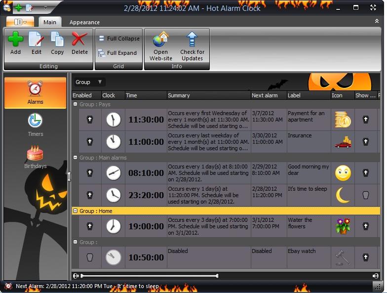 Hot Alarm Clock, Clock Software Screenshot