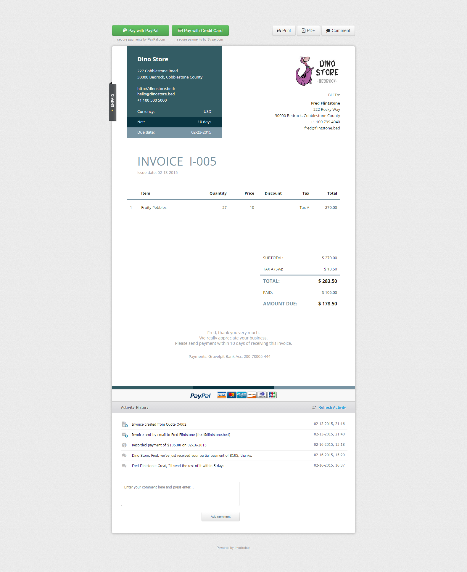 Simple online invoicing - Invoicebus, Accounting Software Screenshot