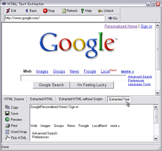 Development Tools Software, HTML Text Extractor Screenshot