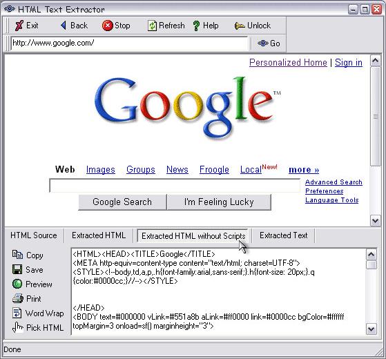HTML Text Extractor, Development Software Screenshot