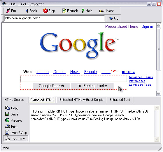 HTML Text Extractor, Development Tools Software Screenshot