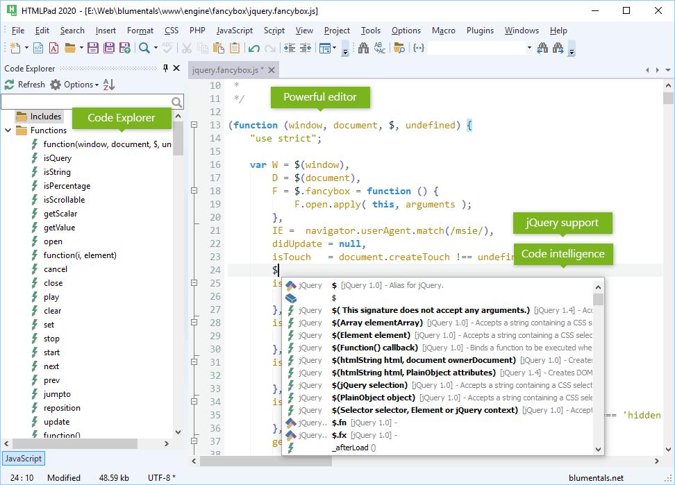 HTMLPad 2020, Development Software Screenshot
