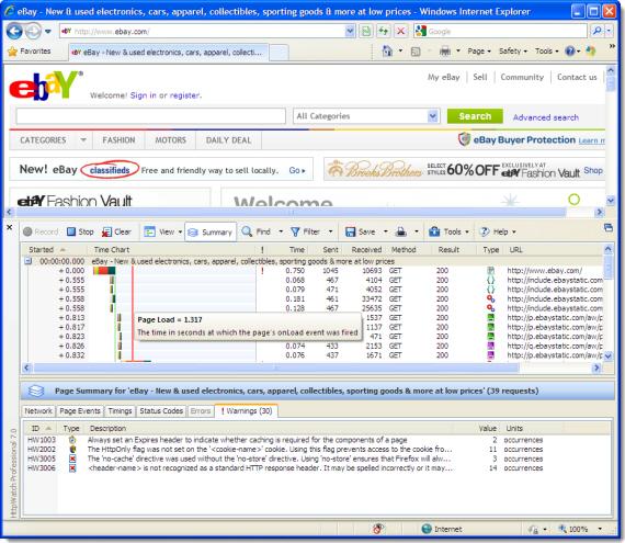HttpWatch Professional 7.0 Screenshot