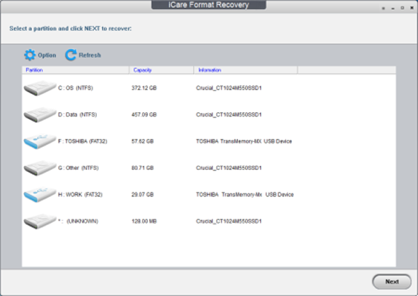iCare Format Recovery Screenshot