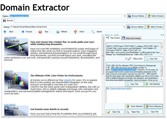 Iconico Extraction Tools A La Carte, Website Scraping Software Screenshot