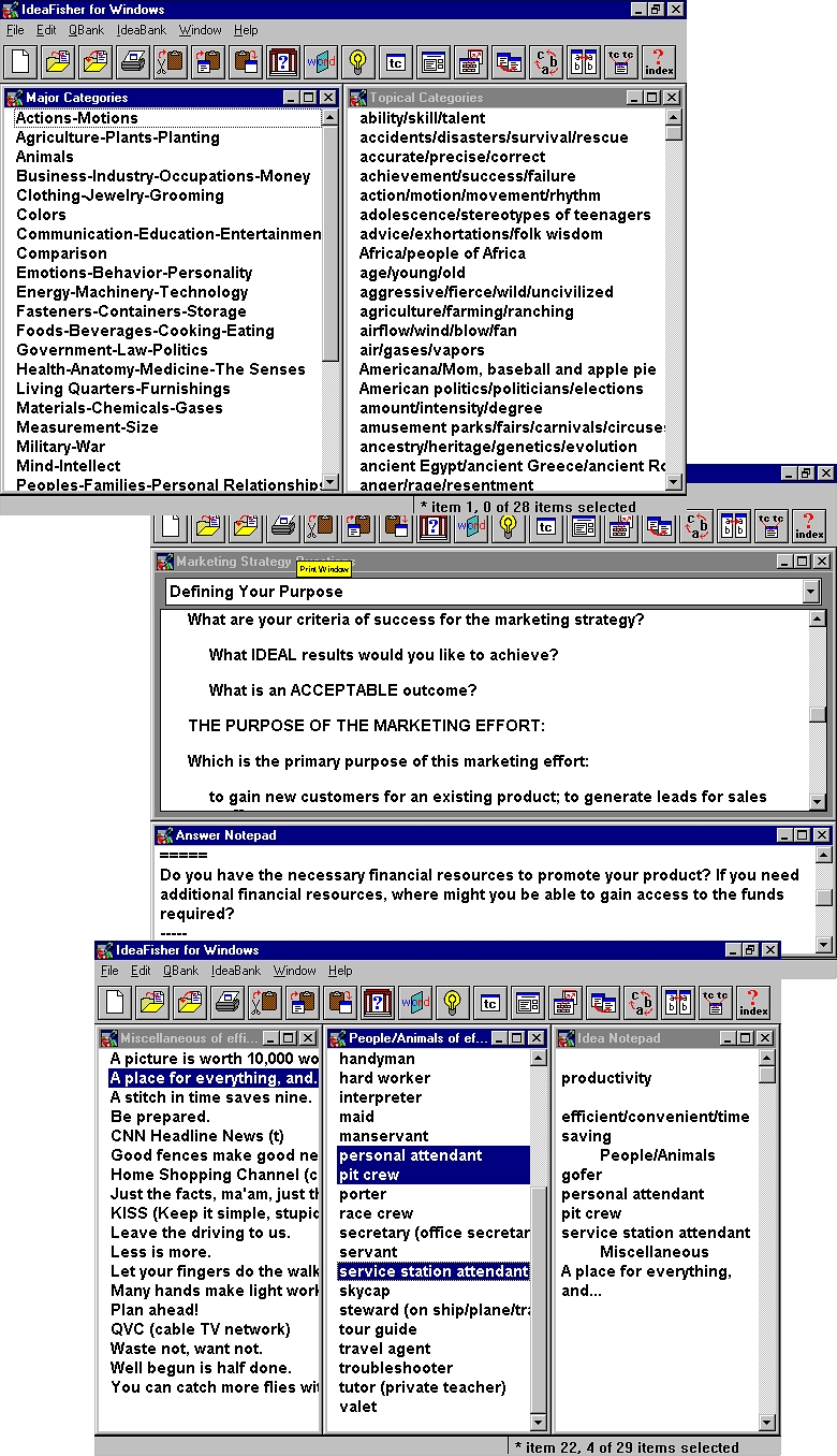 IdeaFisher Retro7 Brainstorming Software Screenshot