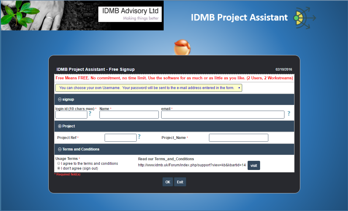 IDMB Project Assistant, Project Management Software Screenshot