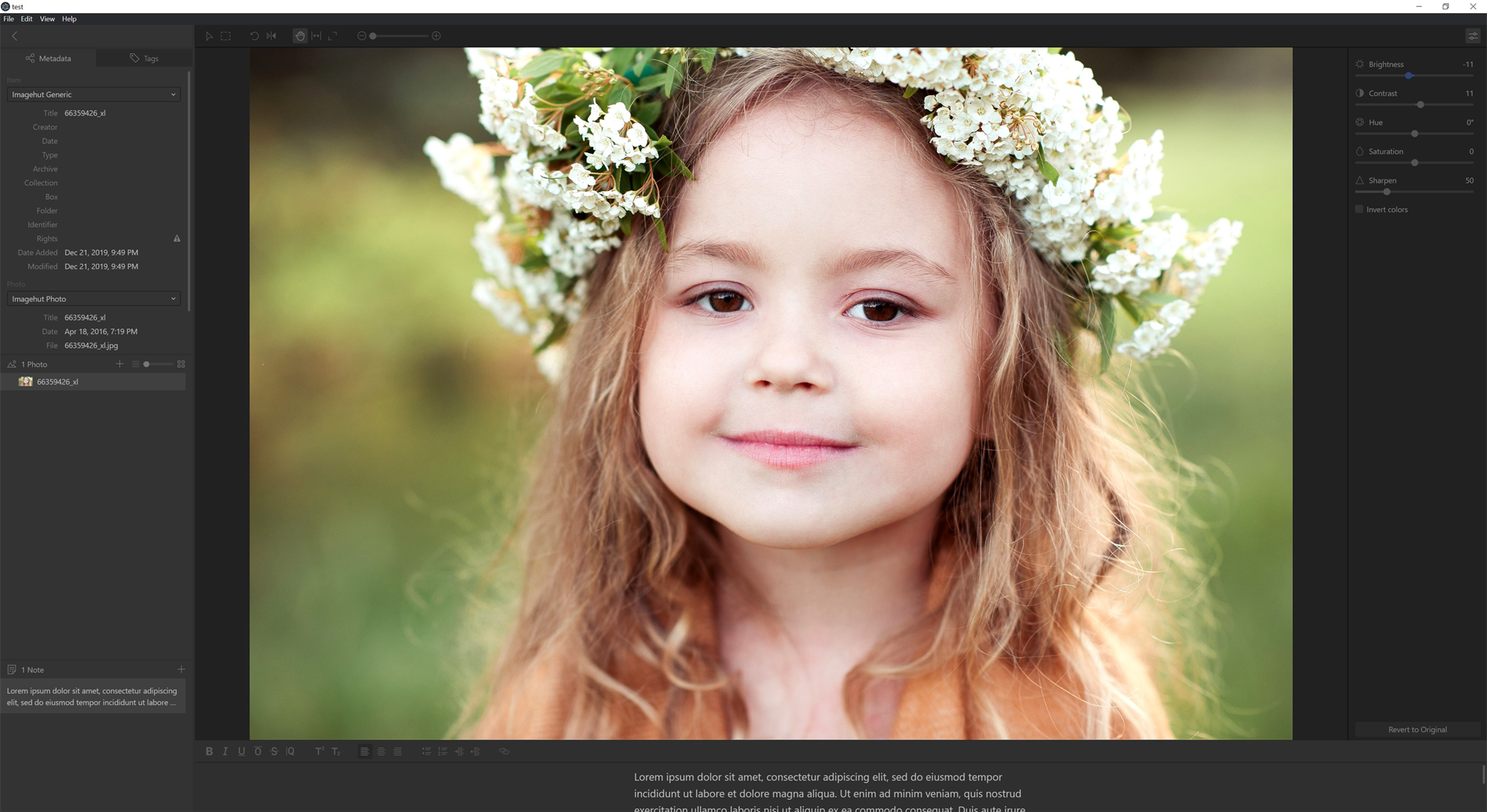 Imagehut, Photo Editing Software Screenshot
