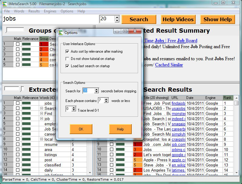 iMetaSearch Pro, Web Research Software Screenshot