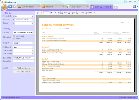 Business & Finance Software, inFlow Inventory Screenshot