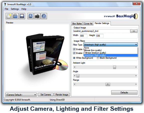 Innesoft BoxMagic, Boxshot Software Screenshot