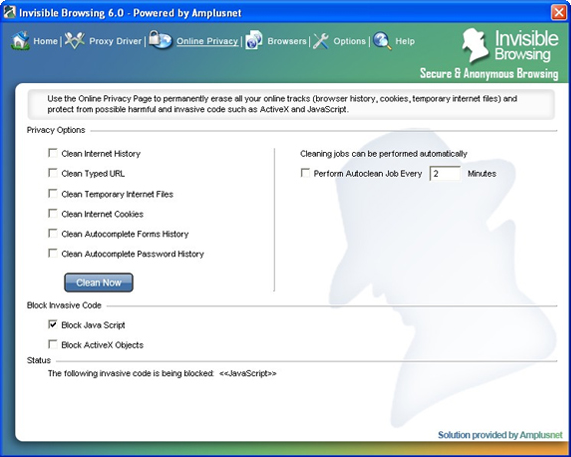Invisible Browsing, Internet Security Software Screenshot