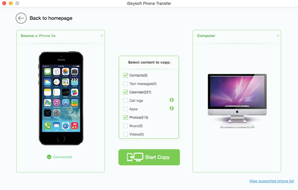 iSkysoft Phone Transfer Screenshot 10