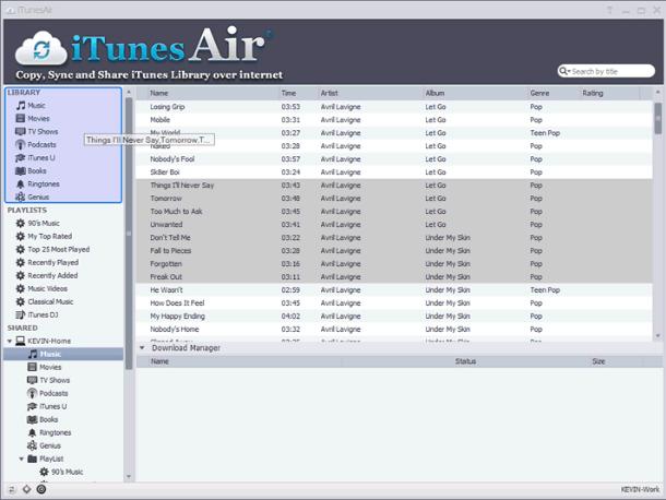 iTunesAir, iPod iPhone iTunes Software Screenshot