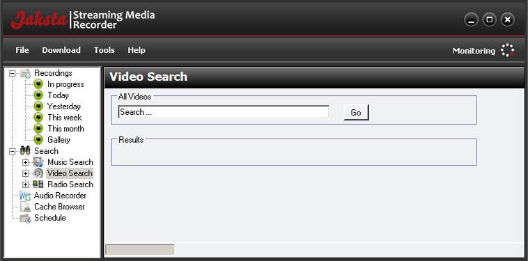 Jaksta for Windows, Video Capture Software Screenshot