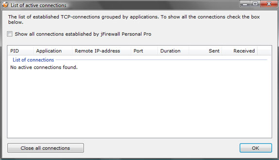 jFirewall Personal Pro, Security Software Screenshot