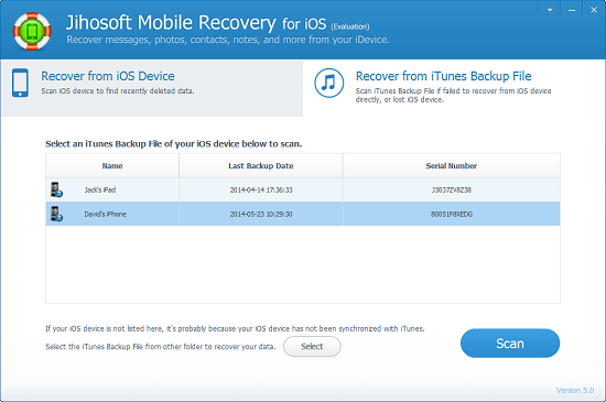 Jihosoft Mobile Recovery for iOS, Security Software Screenshot