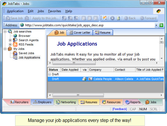 Job Search & Business Card Software Screenshot