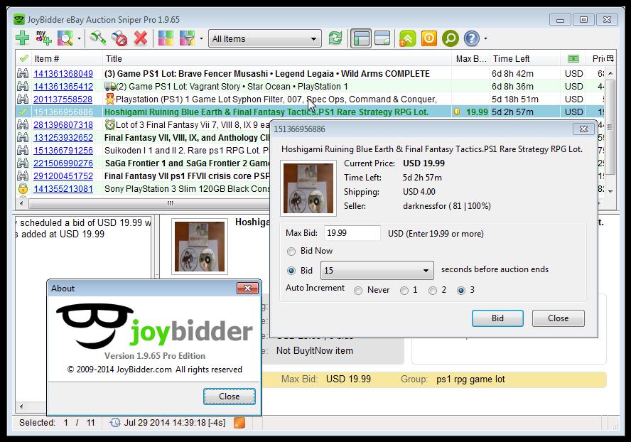 Hobby, Educational & Fun Software, JoyBidder eBay Auction Sniper Pro Edition Screenshot