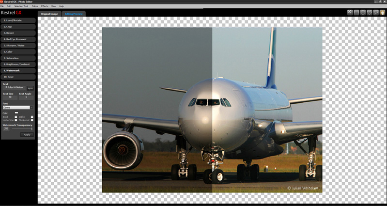 Kestrel GX, Photo Editing Software Screenshot