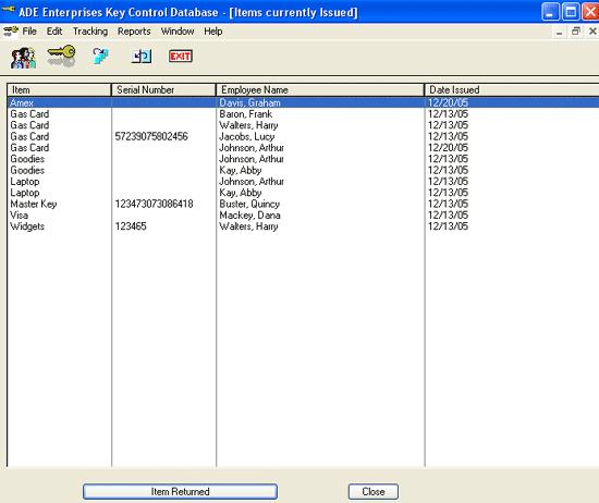 Key control, Business Management Software Screenshot