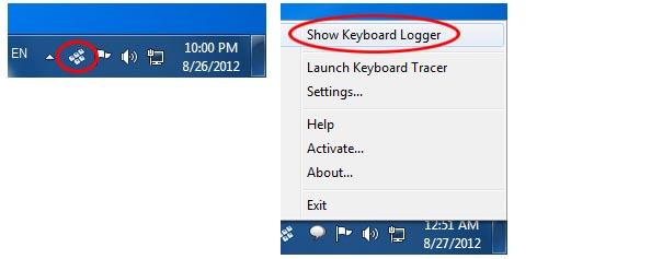 Keyboard Tracer, Keylogger Software Screenshot