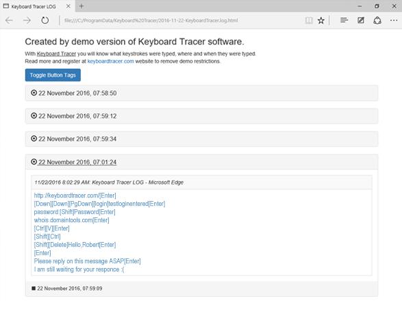 Keyboard Tracer, Security Software Screenshot