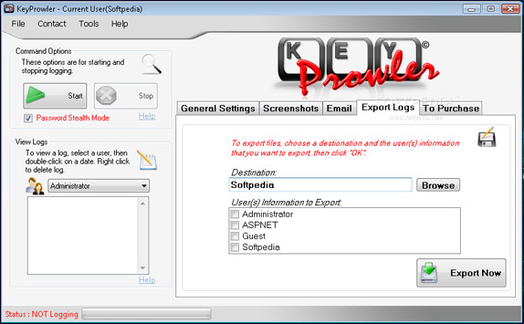 KeyProwler Monitor Pro, Security Software Screenshot