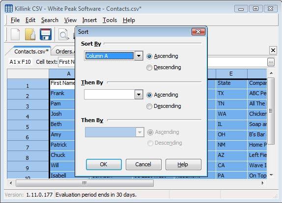 Killink CSV, Spreadsheet Editors Software Screenshot