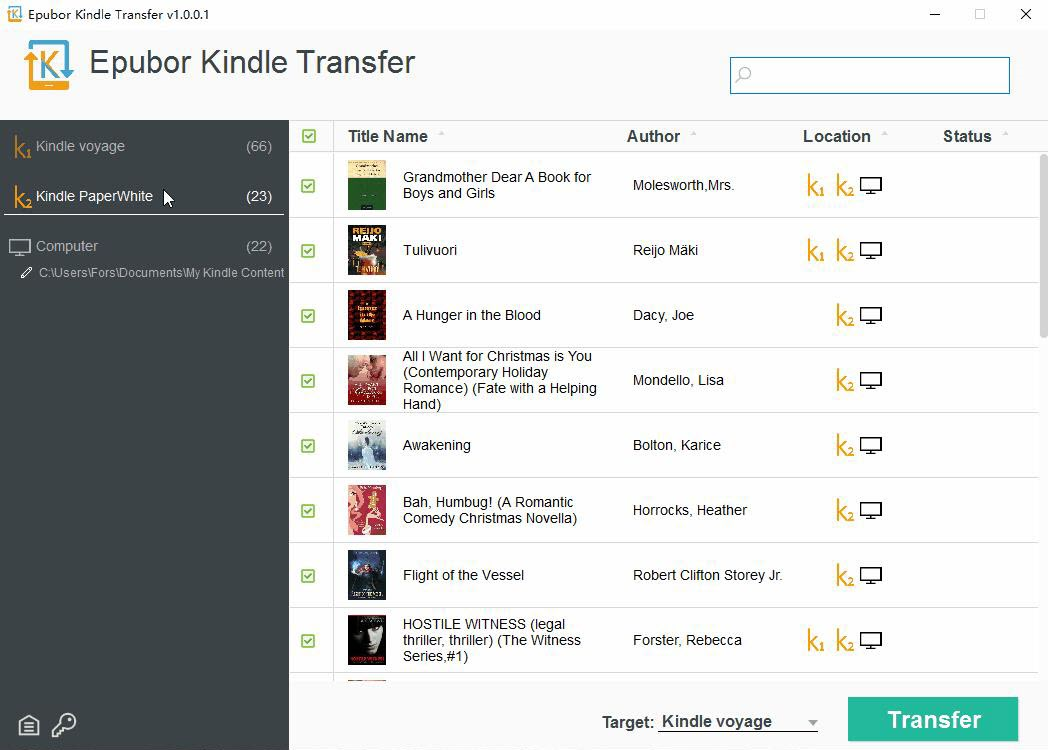 Kindle Transfer Screenshot
