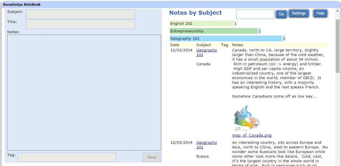 Knowledge NoteBook, Hobby, Educational & Fun Software Screenshot