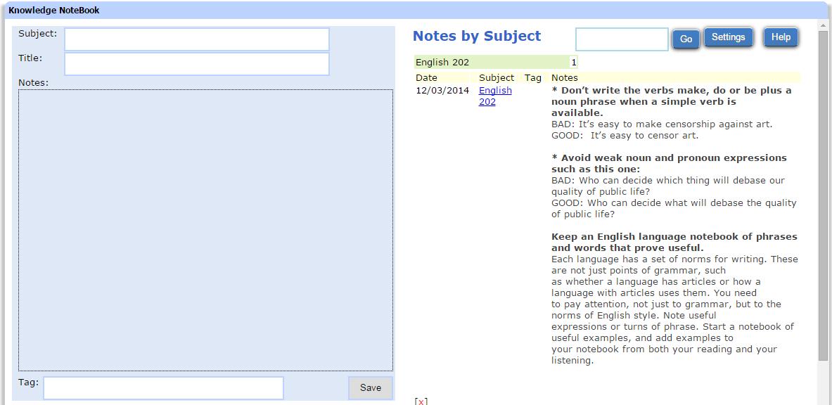 Hobby, Educational & Fun Software, Knowledge NoteBook Screenshot