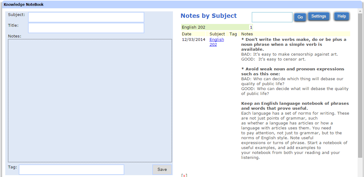 Knowledge NoteBook, Learning and Courses Software Screenshot