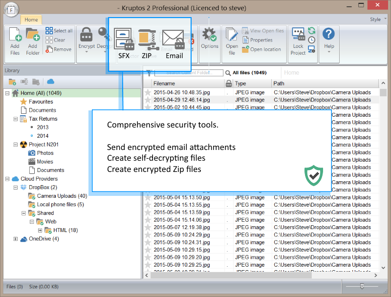 Security Software, Kruptos 2 Professional Screenshot