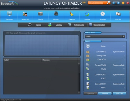 Latency Optimizer, PC Optimization Software Screenshot