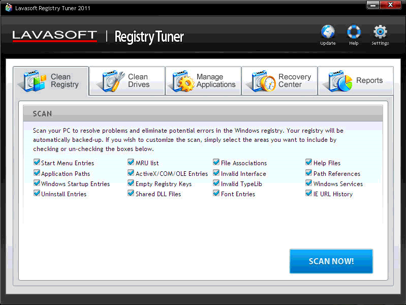 Lavasoft Registry Tuner Screenshot