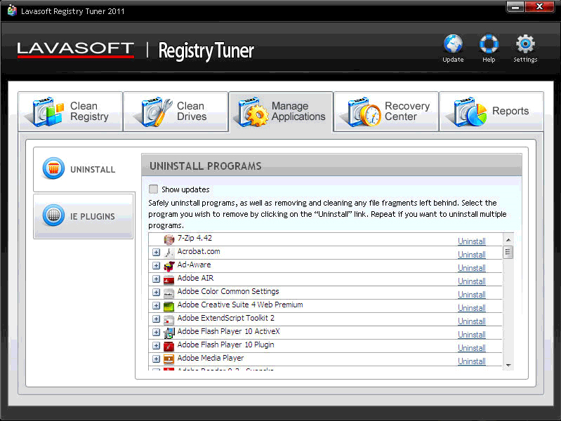 Lavasoft Registry Tuner, Software Utilities Screenshot