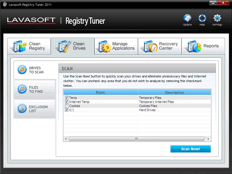 Lavasoft Registry Tuner, Registry Cleaner Software Screenshot