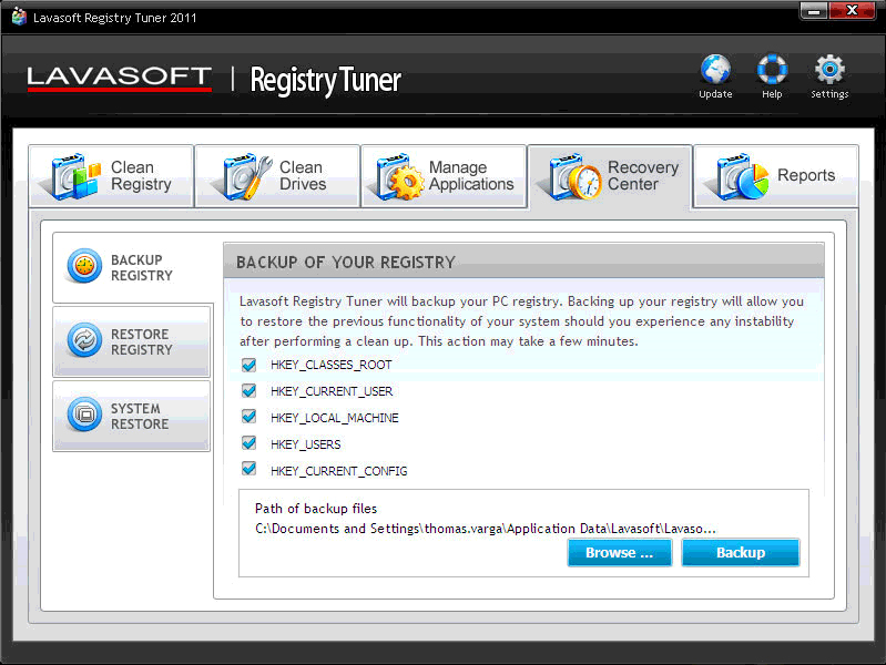 Registry Cleaner Software, Lavasoft Registry Tuner Screenshot
