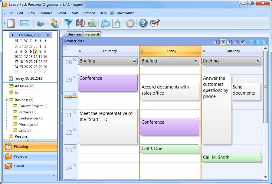 LeaderTask Personal Organizer Screenshot