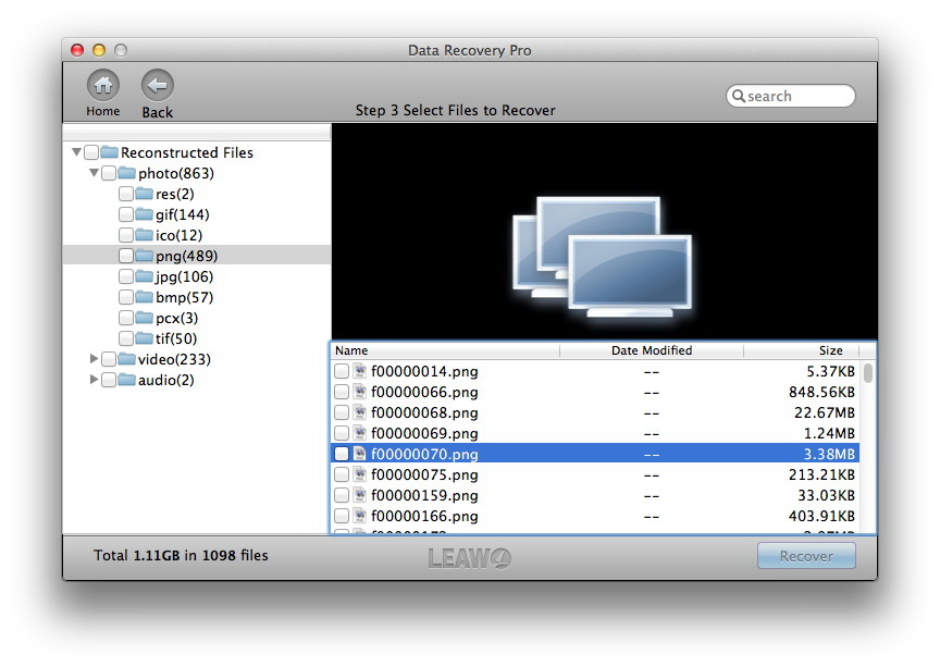 Leawo Data Recovery for Mac, Recovery Software Screenshot