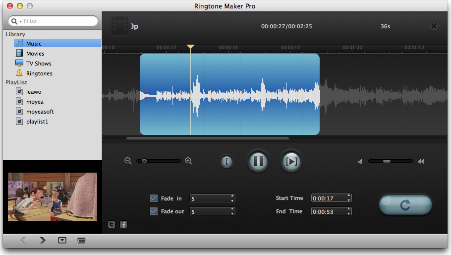Leawo iAm Ringer for Mac, Audio Software Screenshot