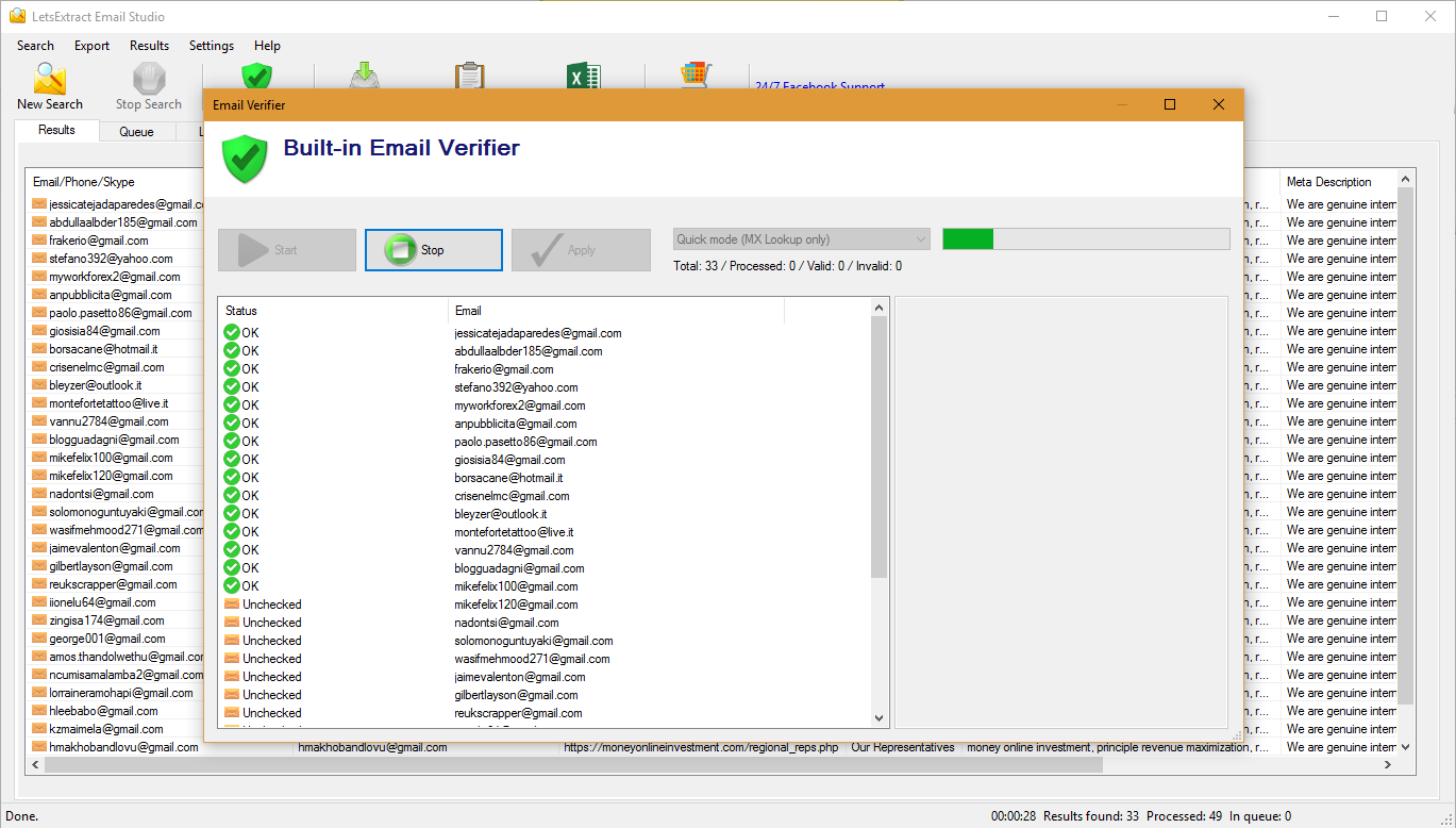 Internet Software, Email Extraction Software Screenshot