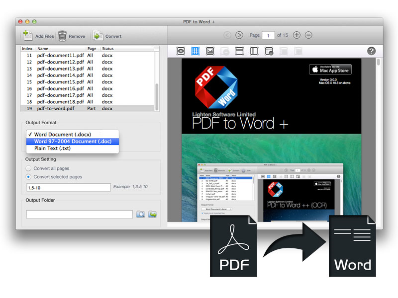 Lighten PDF to Word Converter for Mac Screenshot