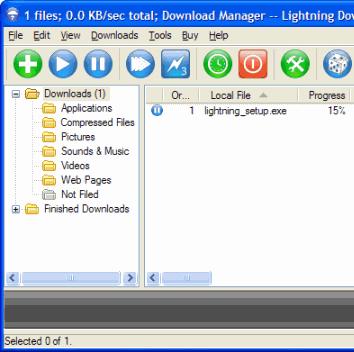 Internet Download Manager Software, Lightning Download Screenshot