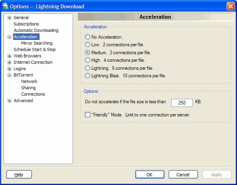 Internet Software, Lightning Download Screenshot