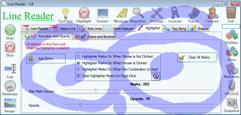 Desktop Customization Software, Line Reader Screenshot