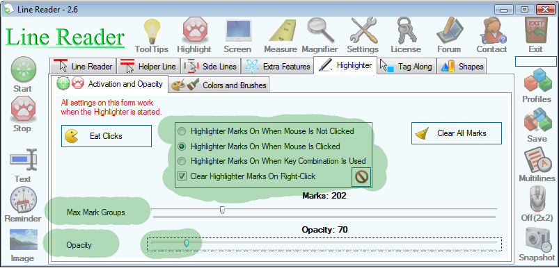 Desktop Enhancements Software, Line Reader Screenshot